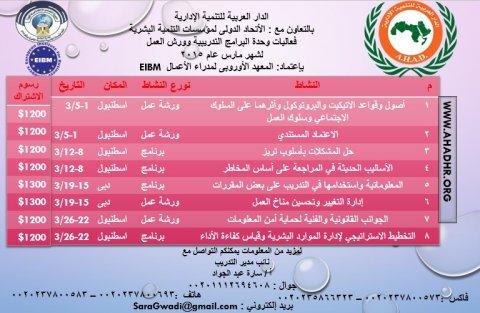 فاعليات البرامج التدريبية وورش العمل لشهر مارس 2015